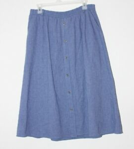 The Villager Sport Woman midi blue button front skirt, cotton blend, size 1X