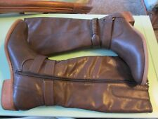 Baretraps-Tatiana Brown Riding Boots-Size 8.5 M-Faux leather-side zip/gusset-New