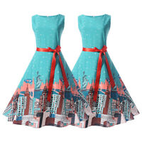 Women Vintage 50s Sleeveless Zip Rockabilly Evening Party Prom Retro Swing Dress