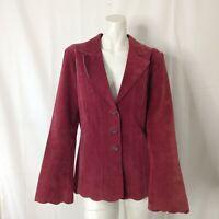 Vintage Margaret Godfrey Womens Burgundy Button Front Suede Jacket 8