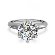 2.00Ct Diamond 14K White Gold Solitaire Round Cut Bridal Wedding Rings Size P