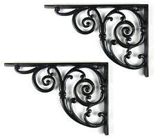 Pair Large Traditional Victorian Style Cast Iron Swirl Shelf/Cistern Brackets