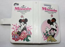 For iPHONE 4 4G 4S - DISNEY PINK MINNIE LEATHER FLIP POUCH HOLSTER COVER CASE