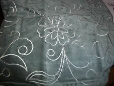 """DECORATIVE PILLOW COVER 18"""" PILLOW EMBROIDERED FLORAL PRINT VELVET FEEL SAGE"""