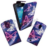 BLUE PINK WHITE BUTTERFLY PRINT PU LEATHER FLIP CASE FOR SAMSUNG GALAXY S4 MINI