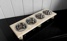 Handarbeit Holz für Ihre Hunde! Futterbar 4 Näpfe, Ideal für Welpen. (212)