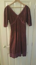 Fat Face aubergine floral dress - fully lined -  size 12 - excellent condition