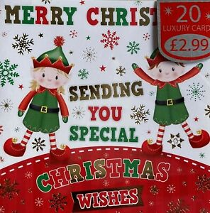 Children Kids Christmas Cards 20 Pack Premium Quality School Card with Envelopes