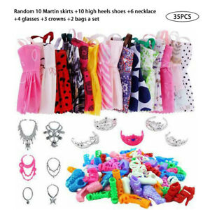 Shoes and jewellery Clothes Accessories 35pcs/Set for Barbie Doll Dresses UK