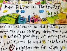 "Beautiful NEW Sandy Gingras ""How To Live In The Country"" Kitchen Towel"
