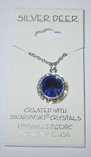 Sapphire Blue Rhinestone Rivoli Pendant Necklace 15mm New Made with Swarovski