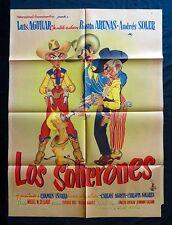 LOS SOLTERONES Rosita Arenas CARICATURE Funny Western MEXICAN MOVIE POSTER 1952