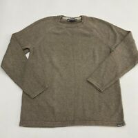 Eddie Bauer Pullover Sweater Men's Size TL Long Sleeve Tan Knit Crewneck Cotton