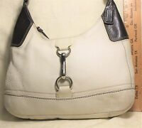 Coach Off White with Black Pebble Leather Shoulder Bag