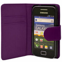 Purple Wallet Leather phone Case Card Slots for Samsung Galaxy Young GT-S5360