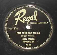REGAL 3260 78rpm Pack Your Rags & Go LARRY DARNELL God Bless The Child JAZZ R&B