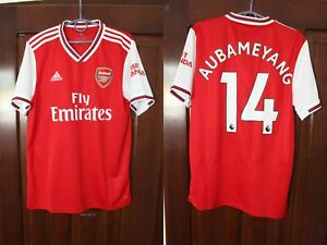 Arsenal London 2019 2020  Aubameyang Home Adidas Soccer Jersey Shirt Size M
