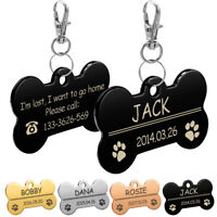 Bone Engrave Dog Tag ID Name Disc Personalized Pet Puppy Cat Dog Identity Tags