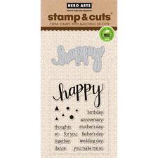 Hero Arts Stamp & Cut Happy #826 DC150 Stamp with Die