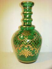 BOHEMIAN DECANTER, RARE LARGE GREEN ( EMERALD ) GOLD FLORAL UNUSUAL & DECORATIVE