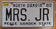 North Dakota 1981 VANITY License Plate MRS. JR