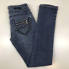 Bubblegum Skinny Jeans Womens 3/4 Stretch Medium Wash Metal Rivets Distressed