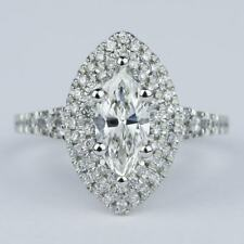 2 Carats Marquise Cut Moissanite Halo Engagement Ring in 9k Solid White Gold