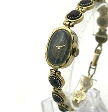 Vintage Dorado Marrón Piedra Pulsera Mujer Lujo Reloj Analogico Servicio Luch