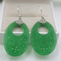 Pure S925 Sterling Silver Green Jadeite Jade Coin Oval Dangle Earrings