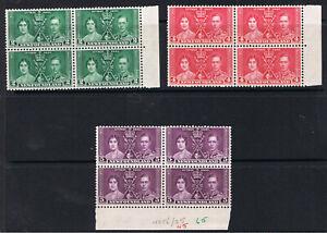 NEWFOUNDLAND 1937 CORONATION - BLOCKS OF 4