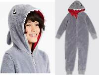 Marks and Spencer M&S soft fleece shark 0nesie 2-16 years sleepsuit outfit