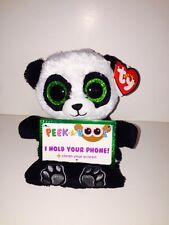 """TY POO PANDA 3 1/2"""" PEEK-A-BOOS SMART PHONE HOLDER-NEW WITH TAG**IN HAND**"""