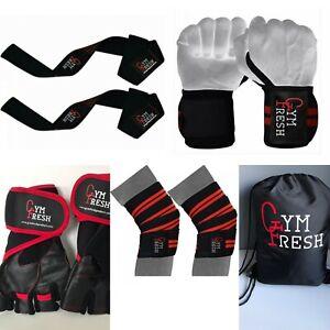 Weight Lifting Set = Wrist wraps,Knee wraps,Lifting straps,Gloves & Kit Bag