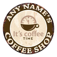 CP-0082 ANY NAME'S COFFEE SHOP Custom Personalized Chic Tin Sign Decor Gift idea