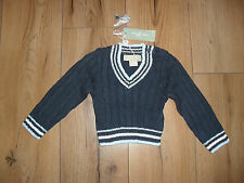 LITTLE LINENS BABY BOY NAVY BLUE 100%COTTON KNITTED JUMPER AGE 6-12 MTHS BNWT