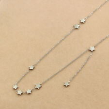 new hot fashion Jewelry women 9 stars Necklace Stainless Steel Rose silver color