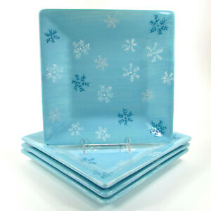 """Target Home SNOWFLAKES 11"""" Square Dinner Plate Set 4Pc Christmas Blue White"""