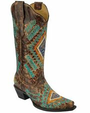 CORRAL Women's Turquoise Diamond Cowgirl Boot Snip Toe - E1021