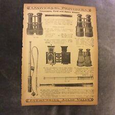 Antique Catalogue Page - Binoculars, Telescopes, Opera Glasses, Bracelets