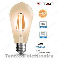 Lampadina led V-TAC 6W = 45W E27 VT-1966 ST64 filamento lampada vintage ambrata