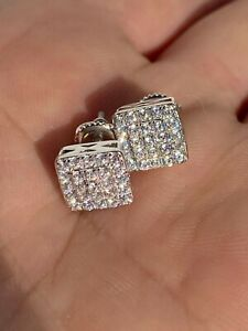 """Real Solid 925 Silver Iced Diamond Earrings Screw Back Mens Square 1/3"""" Hip Hop"""