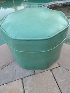 Vintage Mid Century Modern Turquoise Blue Green Vinyl Ottoman Foot Stool RARE!