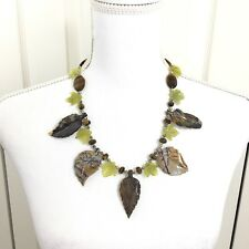 Heather Outlaw Necklace Earring Set Tiger Eye, Jade and Jasper Carved Leaves