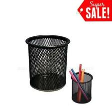 2 pcs Desk Organizer Metal Black Mesh Design Pen Pencil Holder Container Tray