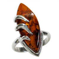 DELIGHTFUL NATURAL BALTIC AMBER HANDMADE 925 STERLING SILVER RING SIZE 5-10