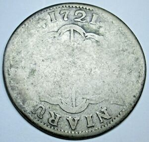 1721 Spanish Silver 2 Reales Antique 1700s Colonial Two Bit Pirate Treasure Coin