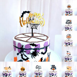 Halloween Birthday Cake Topper Horror Spooky Scary Birthday Glitter Food Deco.。