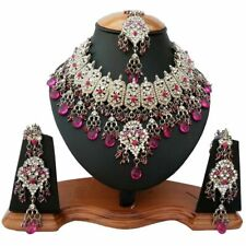 Silver Plated Jodha's Kundan Zerconic Bollywood Necklace Set Earrings Tikka ES4