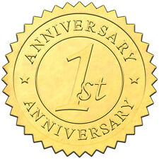 "Elegant GOLD embossed foil anniversry seals ""1st ANNIVERSARY"" - 50 pack"