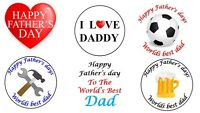 35 Fathers Day Stickers Round Dad Daddy Father's Non Personalised Labels Gift